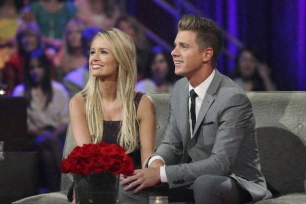"his July 22, 2012 publicity file photo released by ABC shows Emily Maynard, left, and Jef Holm on ""The Bachelorette: After the Final Rose,"" during a live broadcast in the Hollywood section of Los Angeles. Maynard's second turn as part of ABC's ""Bachelor'/'Bachelorette"" franchise has ended with a broken engagement. Maynard and Holm have confirmed they have ended their relationship as reported by People magazine on Oct. 16, 2012. (AP Photo/ABC, Rick Rowell, File)"