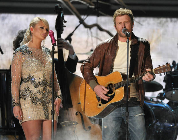 Miranda Lambert, left, and Dierks Bentley perform at the 55th annual Grammy Awards on Sunday, Feb. 10, 2013, in Los Angeles. (Photo by John Shearer/Invision/AP) ORG XMIT: CAAR157