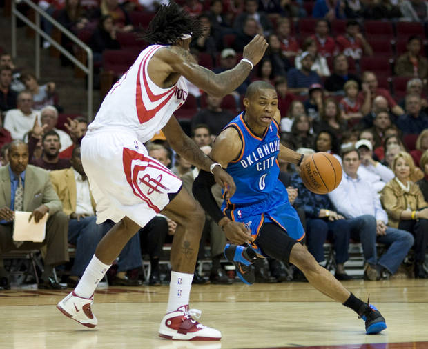 Thunder point guard Russell Westbrook, right, is nearing All-Star status. AP PHOTO