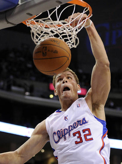 Los Angeles Clippers forward Blake Griffin dunks during the first half of an NBA basketball game against the Portland Trail Blazers, Wednesday, Oct. 27, 2010, in Los Angeles. (AP Photo/Mark J. Terrill) ORG XMIT: LAS101