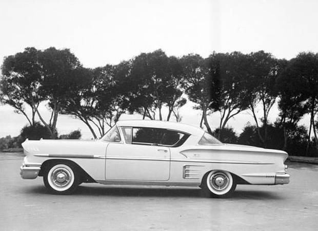 This is a general view of the 1958 Chevrolet Impala sport coupe shown at an unknown location.  (AP Photo)