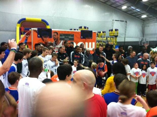 Members of the New York Knicks meet earlier this week with kids in Newtown, Conn. Courtesy of Tim Tallcouch