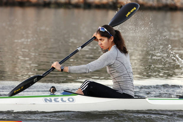Arezou Motamedi practicing for the Oklahoma Regatta on the Oklahoma River in Oklahoma City Tuesday, Oct. 1, 2013.  Photo by Paul B. Southerland, The Oklahoman <strong>PAUL B. SOUTHERLAND - PAUL B. SOUTHERLAND</strong>