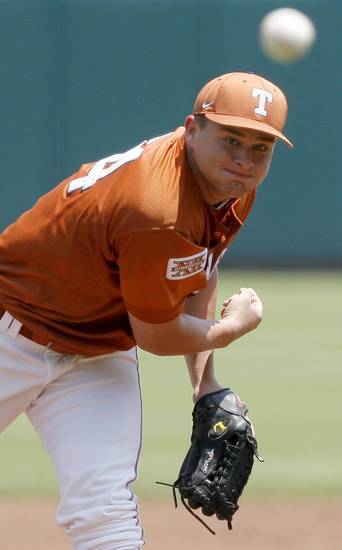 Cole Green of Texas pitches during a Big 12 baseball championship tournament game between Texas and Texas A&M at the Bricktown Ballpark in Oklahoma City, Saturday, May 29, 2010.  Photo by Bryan Terry, The Oklahoman