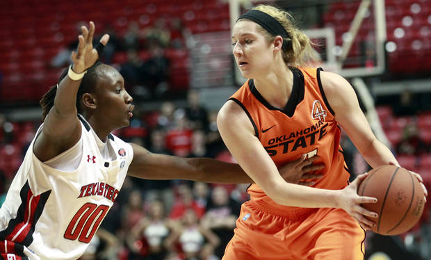 Texas Tech's Chynna Brown (00) defends against Oklahoma State's Liz Donohoe during their NCAA college basketball game in Lubbock, Texas, Wednesday, Feb. 27, 2013. (AP Photo/The Avalanche-Journal, Stephen Spillman)