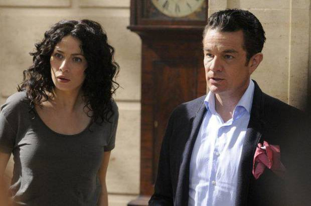 "WAREHOUSE 13 -- Episode 411 ""The Living and the Dead"" -- Pictured: (l-r) Joanne Kelly as Myka Bering, James Marster as Prof. Sutton --  (Photo By: Steve Wilkie/SyFy)"
