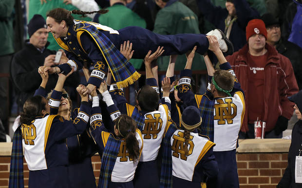 The Notre Dame band celebrates a touchdown during the college football game between the University of Oklahoma Sooners (OU) and the Notre Dame Fighting Irish at the Gaylord Family-Oklahoma Memorial Stadium on Saturday, Oct. 27, 2012, in Norman, Okla. Photo by Chris Landsberger, The Oklahoman