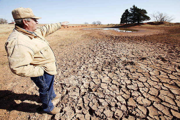 Drought conditions. Logan County rancher John Pfeiffer describe what this ponds water level should be, Wednesday, November 28, 2012.  Photo By David McDaniel/The Oklahoman