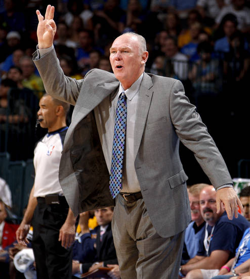 Denver coach George Karl reacts during the NBA basketball game between the Oklahoma City Thunder and the Denver Nuggets at Chesapeake Energy Arena in Oklahoma City, Wednesday, April 25, 2012. Oklahoma City lost 106-101.  Photo by Bryan Terry, The Oklahoman