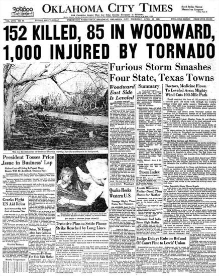 The April 10, 1947, front page of the Oklahoma City Times. <strong></strong>
