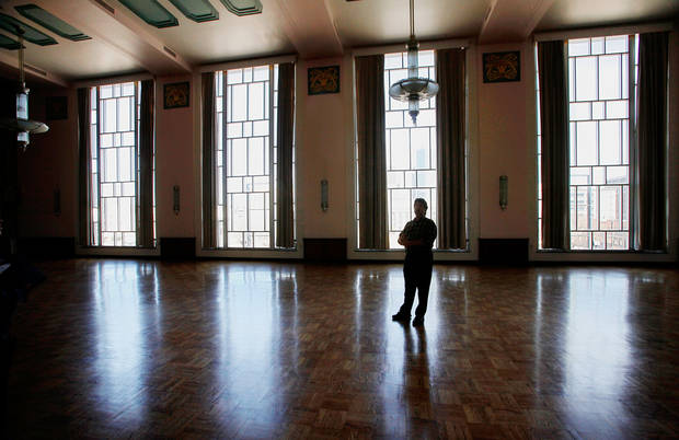 Richard Charney, events manager for the Civic Center Music Hall, shows the Meinders Hall of Mirrors during a tour in February.