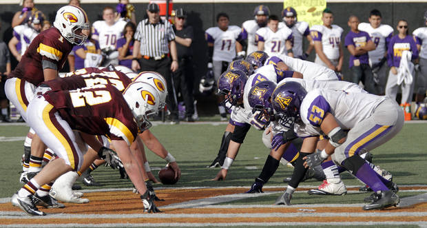 Clinton and Anadarko face off during the Class 4A Oklahoma state championship football game between Anadarko and Clinton at Boone Pickens Stadium on Saturday, Dec. 1, 2012, in Stillwater, Okla.   Photo by Chris Landsberger, The Oklahoman