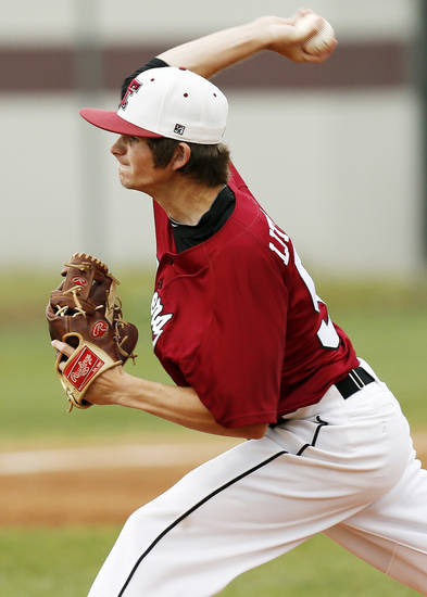 Tuttle's Connor Litterell (5) pitches during a Class 4A high school baseball game between Tuttle and Weatherford in the state tournament at Edmond Memorial in Edmond, Okla.,  Thursday, May 9, 2013. Photo by Nate Billings, The Oklahoman