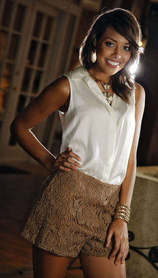 Lace shorts, blouse, necklace and cuff, all by Gianni Bini, and Sam Edelman sparkly sandals are available at Dillard's, Penn Square.  Model is Shelley. Makeup by Natasha Emamghoraishi, Sooo Lilly Cosmetics. Photo by Chris Landsberger, The Oklahoman.  <strong>CHRIS LANDSBERGER</strong>