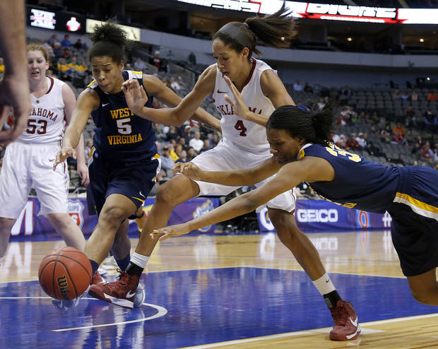 Oklahoma's Nicole Griffin (4) goes for the ball between West Virginia's Averee Fields (5) and Crystal Leary (32) during the Big 12 tournament women's college basketball game between the University of Oklahoma and West Virginia at American Airlines Arena in Dallas, Saturday, March 9, 2012. Oklahoma won 65-64.  Photo by Bryan Terry, The Oklahoman