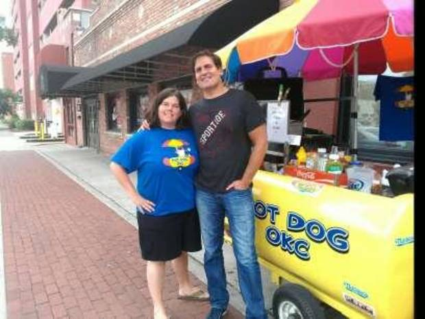 Mark Cuban with @HotDogOKC's Gail Van Campen, photo courtest @HotDogOKC