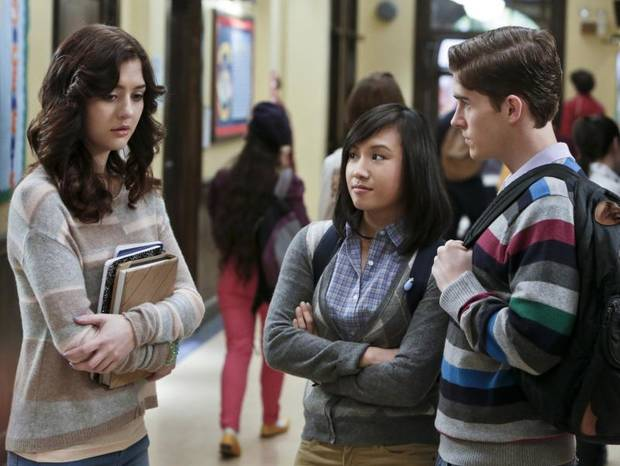 "The Carrie Diaries -- ""Hush, Hush"" -- Pictured (L-R): Katie Findlay as Maggie, Ellen Wong as Mouse, and Brendan Dooling as Walt -- Image Number: CD108b_0120b.jpg — Photo: Patrick Harbron/The CW -- © 2013 The CW Network, LLC. All rights reserved."