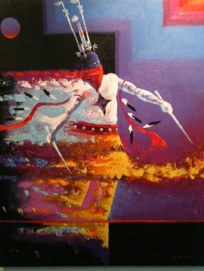 "�Fire Dancer,"" acrylic on canvas, by Tim Nevaquaya (Comanche)"