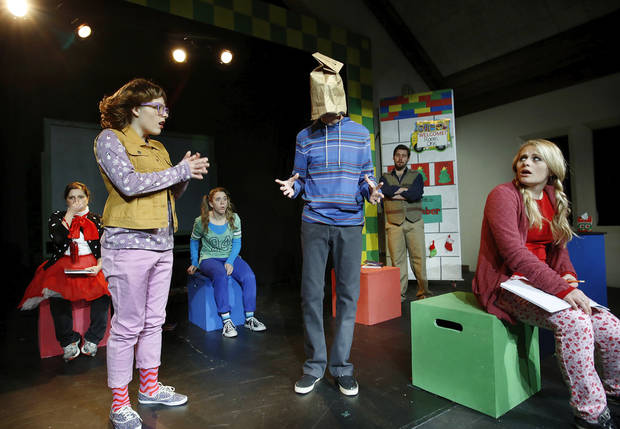 Cast members of �Junie B in Jingle Bells Batman Smells� act out a scene at rehearsals at Oklahoma Children�s Theatre.