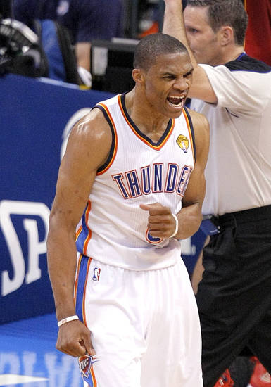 Russell Westbrook (0) celebrates during Game 1 of the NBA Finals between the Oklahoma City Thunder and the Miami Heat at Chesapeake Energy Arena in Oklahoma City, Tuesday, June 12, 2012. Photo by Sarah Phipps, The Oklahoman