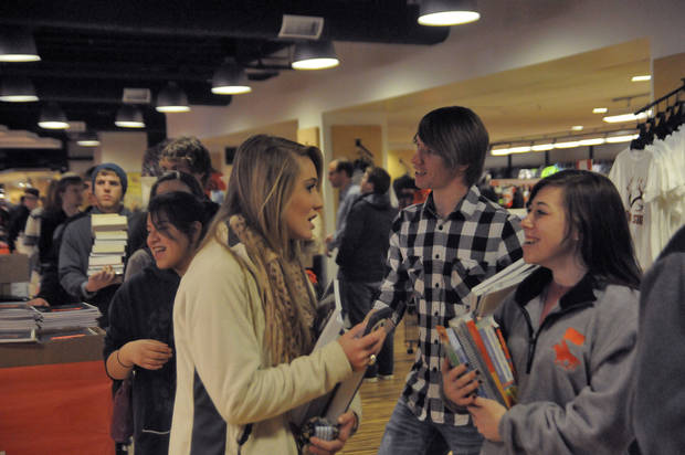 OKLAHOMA STATE UNIVERSITY / OSU / BACK TO SCHOOL: Oklahoma State University students wait in line to buy books as they return to school Monday following winter break. Jonathan Sutton for The Oklahoman. <strong></strong>