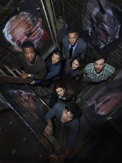 GRIMM -- Season: 2 -- Pictured: (front) David Giuntoli as Nick Burkhardt, Bree Turner as Rosalee; (l-r) Russell Hornsby as Hank Griffin, Reggie Lee as Sgt. Wu, Sasha Roiz as Cpt. Renard, Bitsie Tulloch as Juliette Silverton, Silas Weir Mitchell as Monroe -- (Photo by: Michael Muller/NBC)