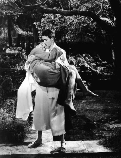 Jimmy Stewart and Katharine Hepburn star in MGM�s classic 1940 film �The Philadelphia Story.� Photo Provided