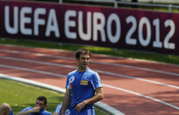 Greece's captain Giorgos Karagounis attends the training session at the Euro 2012 soccer championship in Legionowo about 25 kilometers (15 miles) north of Warsaw, Poland on Monday, June 18, 2012. (AP Photo/Thanassis Stavrakis)