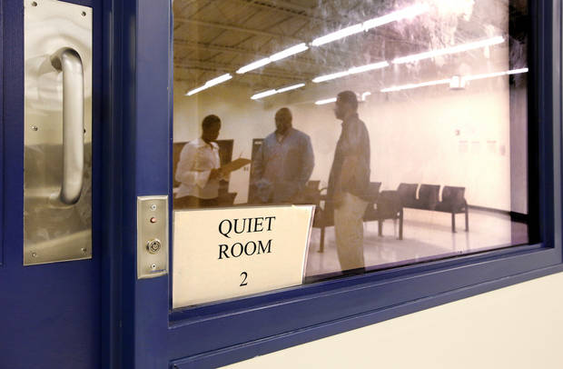 This is one of the quiet rooms for those who need to be separated from other detainees in the holding area in the Community Intervention Center. Photos by Jim Beckel,  The Oklahoman