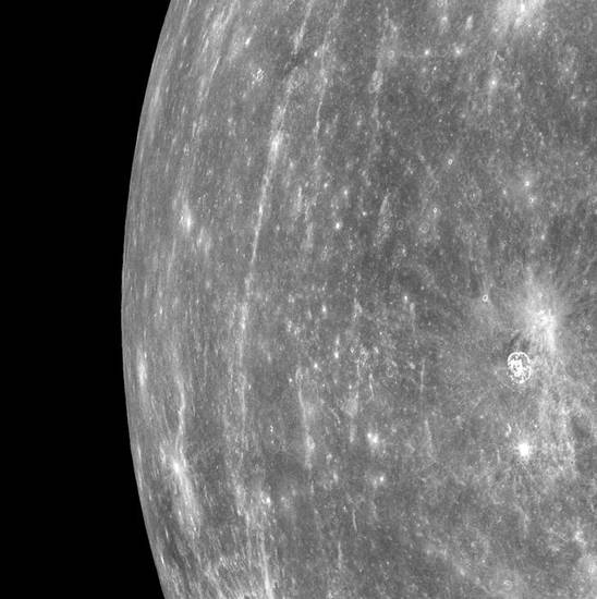 This image provided by NASA was photographed by the spacecraft Messenger, the first ever images made from a spacecraft while in orbit around the planet. It shows Mercury's horizon as the spacecraft was moving northward along the first orbit during which MDIS was turned on. On March 17, 2011 Messenger became the first spacecraft to orbit the planet Mercury. (AP Photo/NASA) ORG XMIT: NY118