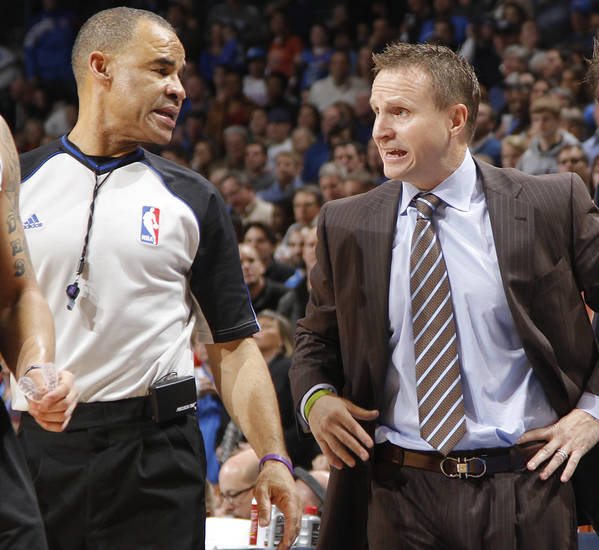 Coach Scott Brooks has words with the official during the NBA basketball game between the Oklahoma City Thunder and the Brooklyn Nets at the Chesapeake Energy Arena on Wednesday, Jan. 2, 2013, in Oklahoma City, Okla. Photo by Chris Landsberger, The Oklahoman
