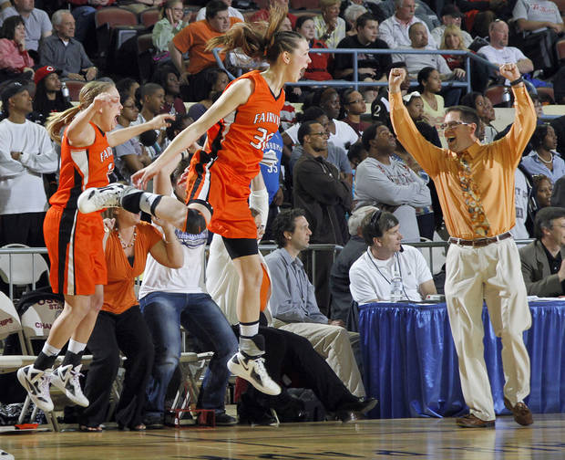 Fairview's Sadie Mason (30) reacts as the Lady Jackets defeat Northeast in the 2A girls State Basketball Championship game between Northeast High School and Fairview High School at State Fair Arena on Saturday, March 10, 2012 in Oklahoma City, Okla.  Photo by Chris Landsberger, The Oklahoman