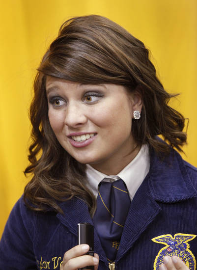 Skylar Vogle,  president of the FFA Chapter at Perkins-Tyron Schools  during an interview with an Oklahoman  reporter at the annual state convention of FFA members at the Cox Convention Center in Oklahoma City,  on Tuesday, May 1, 2012.    Photo by Jim Beckel, The Oklahoman