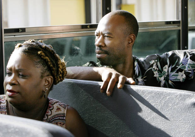 Gayla Smotherman and Freddie Hudspeth  ride in a district school bus. They are bus driver trainees with the Oklahoma City Public Schools. They were photographed at the district's transportation center in northeast Oklahoma City, Thursday,  Aug. 7, 2008.   BY JIM BECKEL, THE OKLAHOMAN
