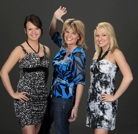 "Principal female character in the movie ""Footloose"" is  based on Oklahoma native Mary Ann Temple-Lee, center, shown with her daughter, Mary D., right, and Trista, her son's fiance.  They posed in the studio,  Friday, April 9, 2010. Photo by Jim Beckel, The Oklahoman ORG XMIT: KOD"
