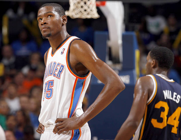 Oklahoma City's Kevin Durant reacts to the Thunder's loss in final minutes of the NBA basketball game between the Oklahoma City Thunder and Utah Jazz in the Oklahoma City Arena on Sunday, Oct. 31, 2010. Photo by Sarah Phipps, The Oklahoman