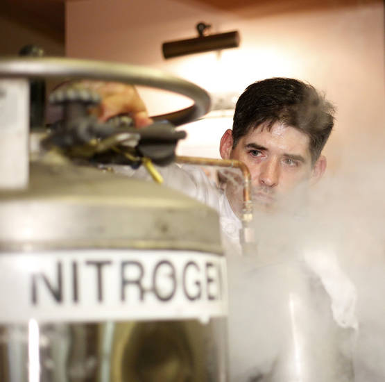 Renowned New York chef and mixologist Dave Arnold uses liquid nitrogen during a demonstration of his technology-assisted techniques for mixing drinks at the California campus of the International Culinary Center in Campbell, California, on August 1, 2012.  (Josie Lepe/San Jose Mercury News/MCT)