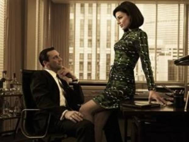 """Mad Men"" stars Jon Hamm as Don Draper and Jessica Pare as Megan Draper."