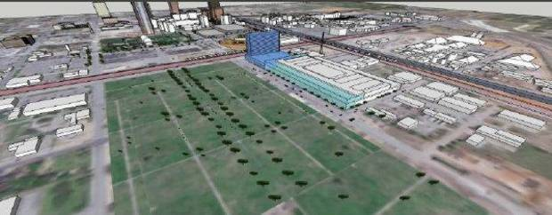 A site east of the future central park and south of the Oklahoma City Arena was revived as an option by Populous despite continued unanimous rejection by the committee tasked with overseeing the selection process. This rendering shows how the convention center and hotel would be situated across from the park. <strong>Provided</strong>