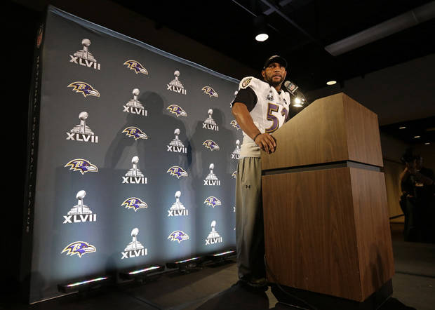 Baltimore Ravens linebacker Ray Lewis speaks during an NFL Super Bowl XLVII football news conference on Wednesday, Jan. 30, 2013, in New Orleans. Lewis denied a report linking him to a company that purports to make performance-enhancers. The Ravens face the San Francisco 49ers in the Super Bowl on Sunday. (AP Photo/Patrick Semansky)