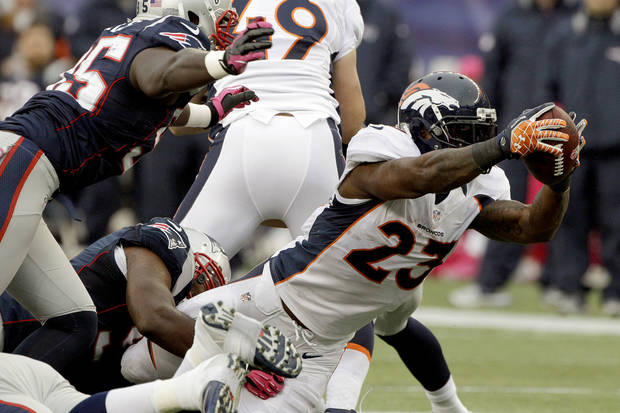 Denver Broncos running back Willis McGahee (23) stretches for yardage as New England Patriots defensive end Chandler Jones (95) and teammates give chase in the first quarter of an NFL football game, Sunday, Oct. 7, 2012, in Foxborough, Mass. (AP Photo/Stephan Savoia)