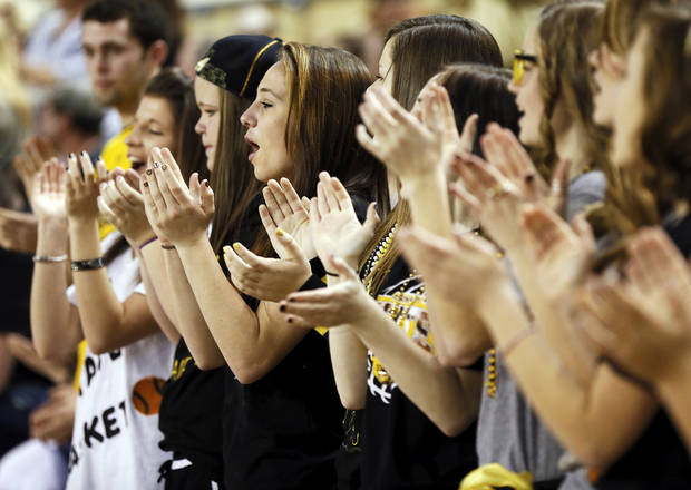 Arnett fans cheer during a Class B Boys first-round game of the state high school basketball tournament between Burlington and Arnett at Jim Norick Arena, The Big House, on State Fair Park in Oklahoma City, Thursday, Feb. 28, 2013. Arnett won, 56-32. Photo by Nate Billings, The Oklahoman