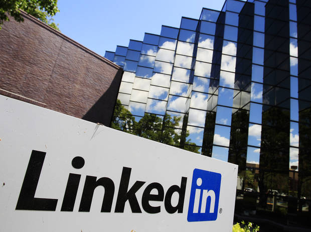 FILE - In this Monday, May 9, 2011 file photo, LinkedIn Corp., the professional networking Web site, displays its logo outside of headquarters in Mountain View, Calif.  Linkedin is reporting their fourth quarter 2012 earnings on Thursday, Feb. 7, 2013. (AP Photo/Paul Sakuma, File)