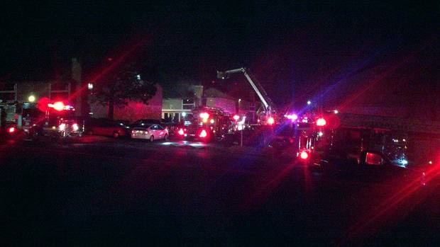 Fifteen fire apparatus were dispatched to battle flames at the Eagle Point Apartments, 5808 E. 71st St., on Wednesday.