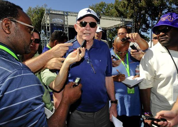 Dallas Cowboys owner Jerry Jones address the media during training camp in Oxnard, Calif. (AP Photo)