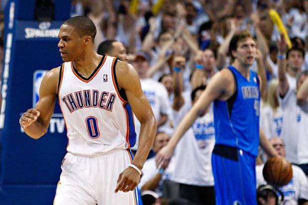 Russell Westbrook scored XX points Friday night. / AP photo