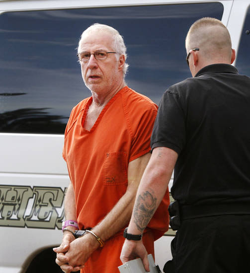 Former McLoud school teacher Kim Crain and her alleged accomplice, Gary Doby, shown here, a former professor at OBU,  arrive at the  Pottawatomie County Courthouse Monday morning, May 21, 2012,  for a preliminary hearing. Photo by Jim Beckel, The Oklahoman