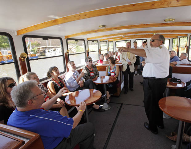 Capt. Steve Stanionis gives a safety briefing aboard the Devon Explorer river cruiser before a tour of the Oklahoma River for a group with the Topeka Chamber of Commerce, in Oklahoma City, Thursday, Sept. 2, 2010. Photo by Nate Billings, The Oklahoman