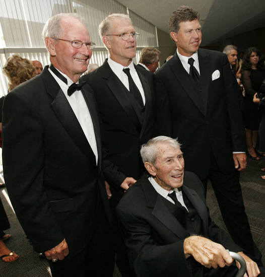 2009 inductees, top row, from left, Ted Owens, Jon Kolb, Bob Tway, and Cal McLish, seated, pose for a photo at the Oklahoma Sports Hall of Fame induction ceremony at the National Cowboy and Western Heritage Museum, Monday, August 3, 2009.