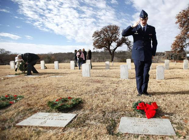 Civil Air Patrol 2nd Lt. Chris Dare salutes after laying a wreath on a grave during a wreath ceremony at Union Soldiers Cemetery in Oklahoma City, Saturday, Dec. 11, 2010. Photo by Sarah Phipps, The Oklahoman ORG XMIT: KOD
